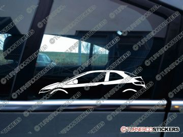 2x Car Silhouette sticker - Honda Civic FN hatchback 2006-2011 (8th gen)